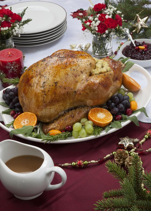Roasted Turkey for Christmas Dinner royalty free stock photography