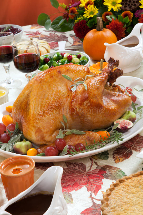 Roasted Turkey on Harvest Table stock photo