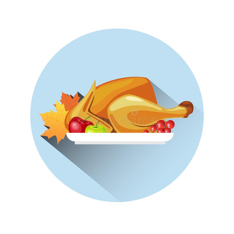 Roasted Turkey Icon Happy Thanksgiving Day Concept Autumn Traditional Holiday Meal Logo vector illustration