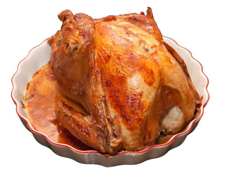 Roasted turkey on plate stock images