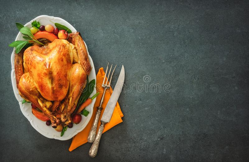 Roasted turkey for Thanksgiving Day or Christmas stock image
