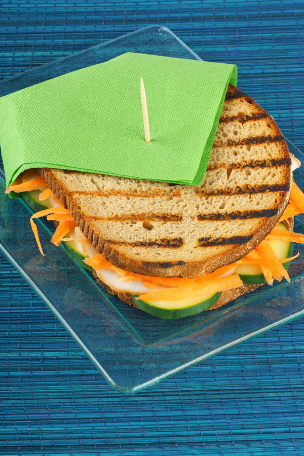 Roasted turkey and vegetables sandwich stock image
