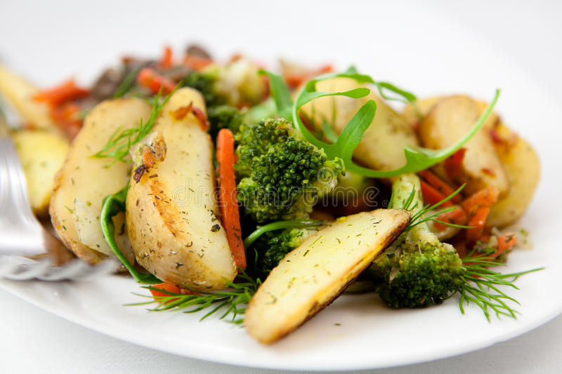 Download Roasted vegetables stock photo. Image of calories, plate - 14857638