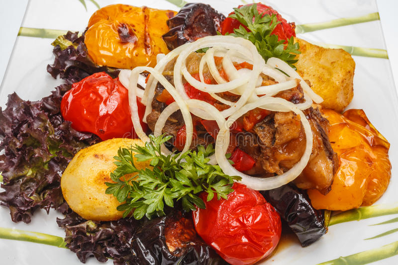 Roasted vegetables with meat royalty free stock photos