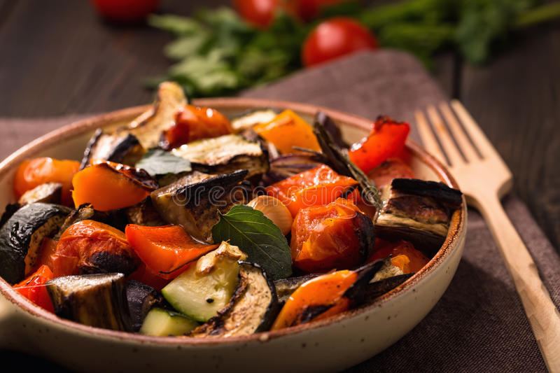 Roasted vegetables on serving pan closeup. Shot royalty free stock images