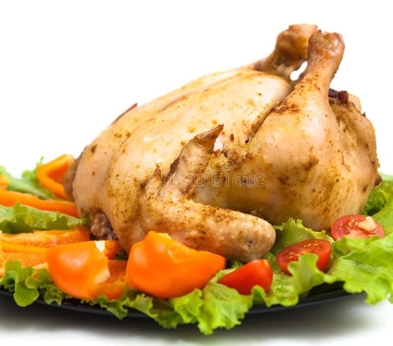 Roasted whole chicken stock photos