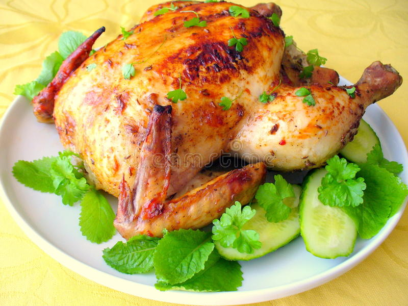 Roasted whole chicken stock image