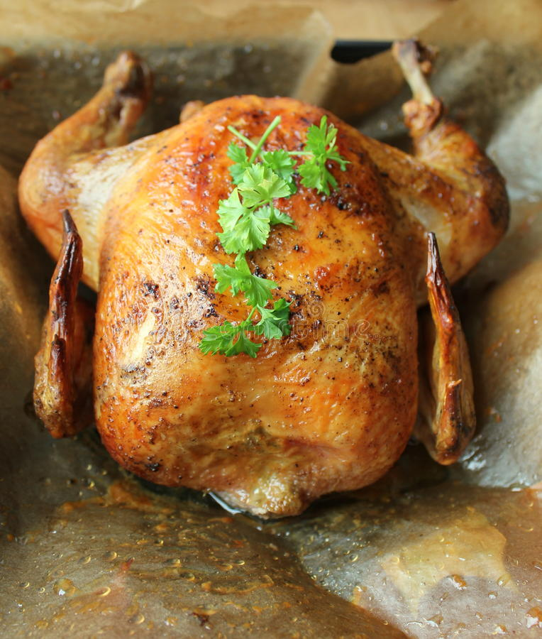 Roasted whole chicken stock photo