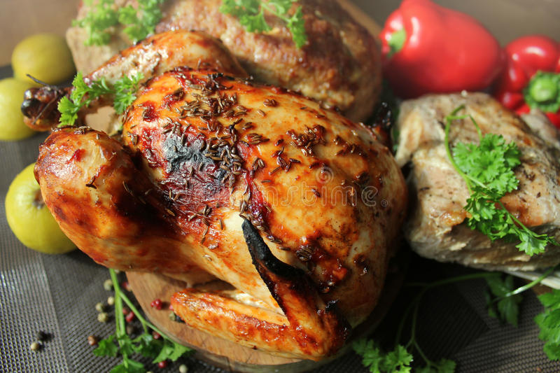 Roasted whole chicken, fillet, meatloaf royalty free stock photos