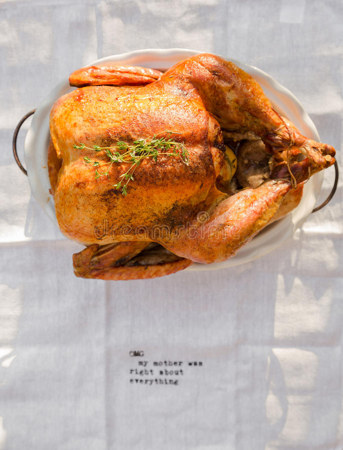 Roasted whole chicken / turkey stock photography