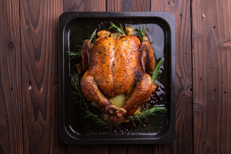 Roasted whole chicken / turkey for celebration and holiday. Christmas, thanksgiving, new year's eve dinner royalty free stock image