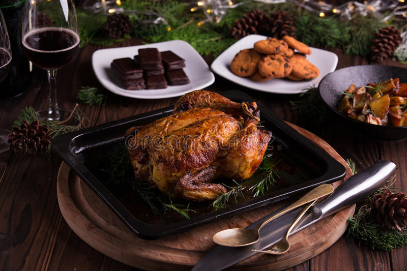 Roasted whole chicken / turkey for celebration and holiday. Christmas, thanksgiving, new year's eve dinner stock images