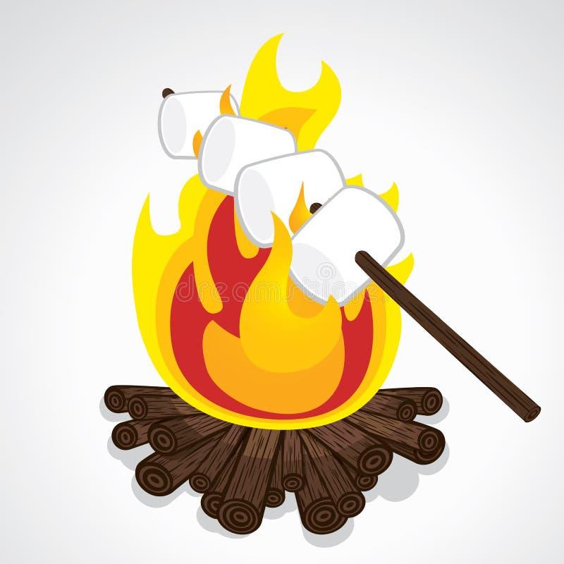 Roasting marshmallows vector illustration