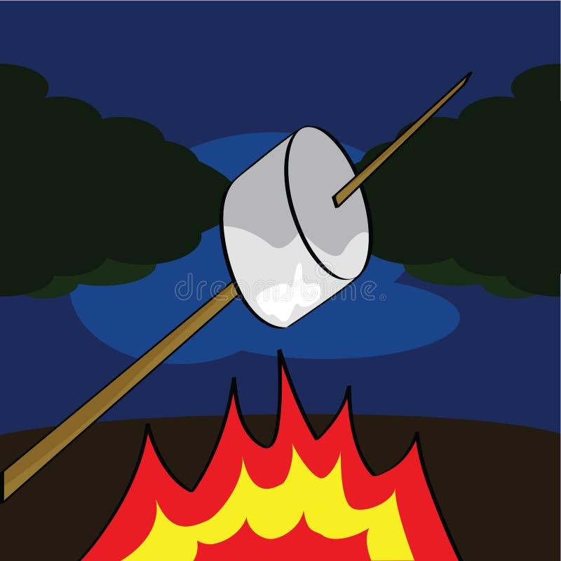 Roasting um marshmallow ilustração do vetor
