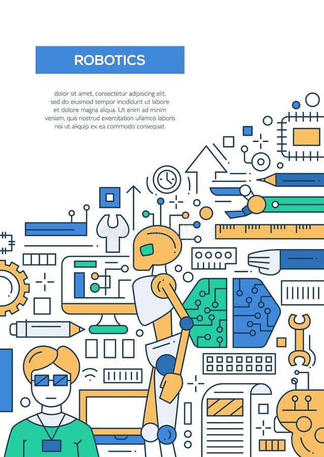Robótica - linha molde A4 do cartaz do folheto do projeto ilustração stock
