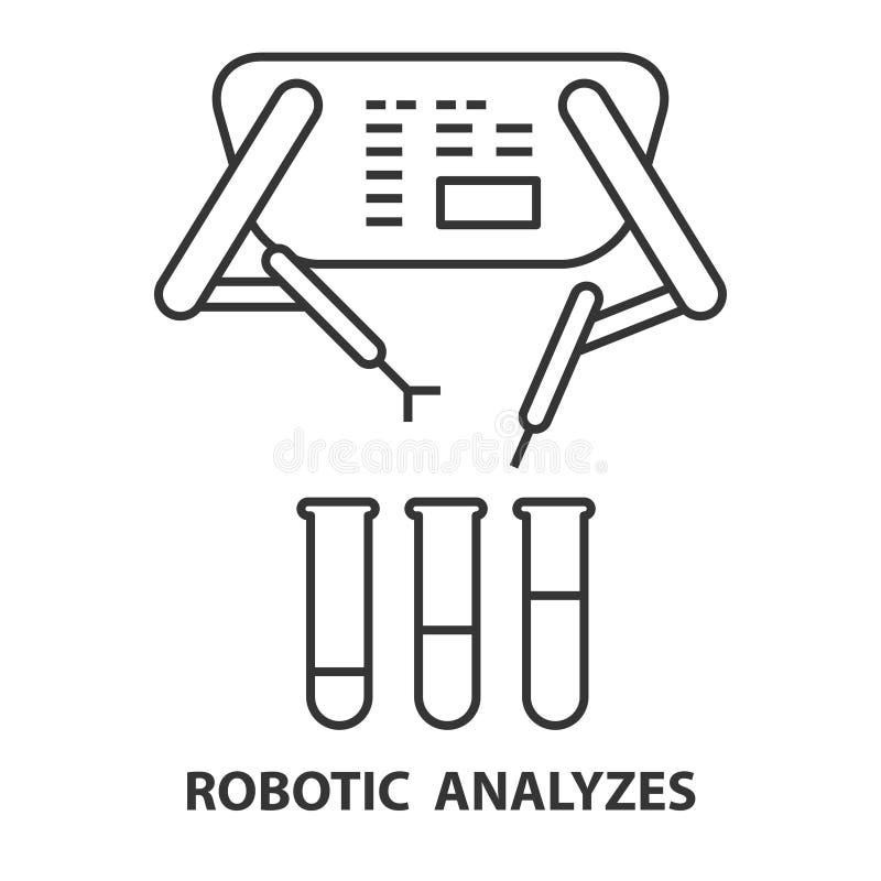 Robótico analiza el icono ilustración del vector