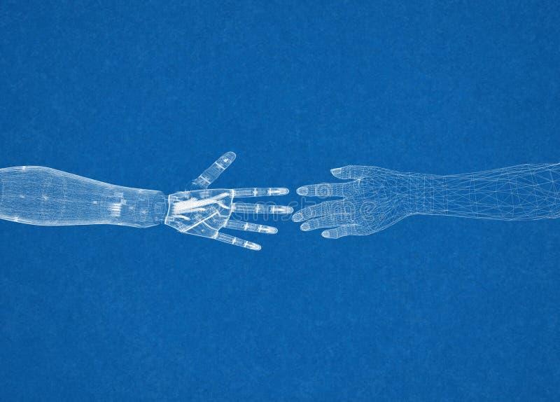 Robótico y ser humano arma el concepto - arquitecto Blueprint fotos de archivo