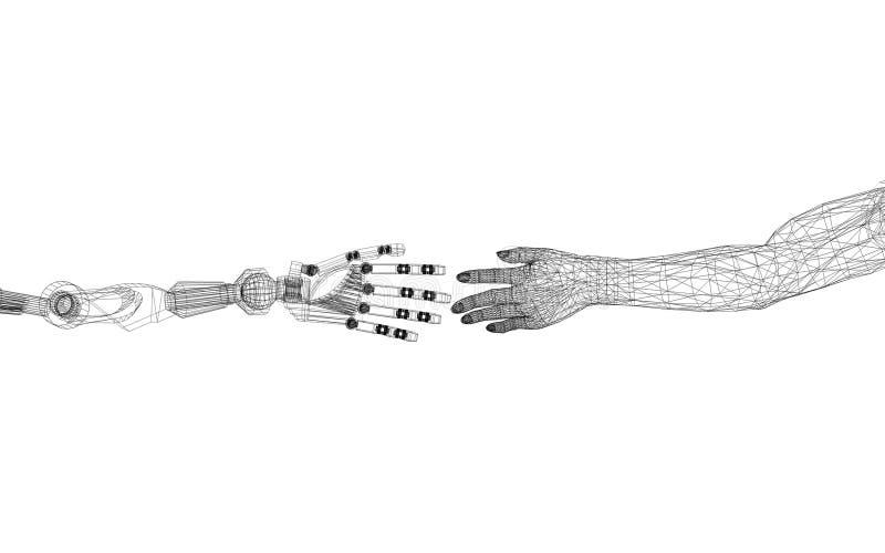 Robótico y ser humano arma el concepto - arquitecto Blueprint - aislados ilustración del vector