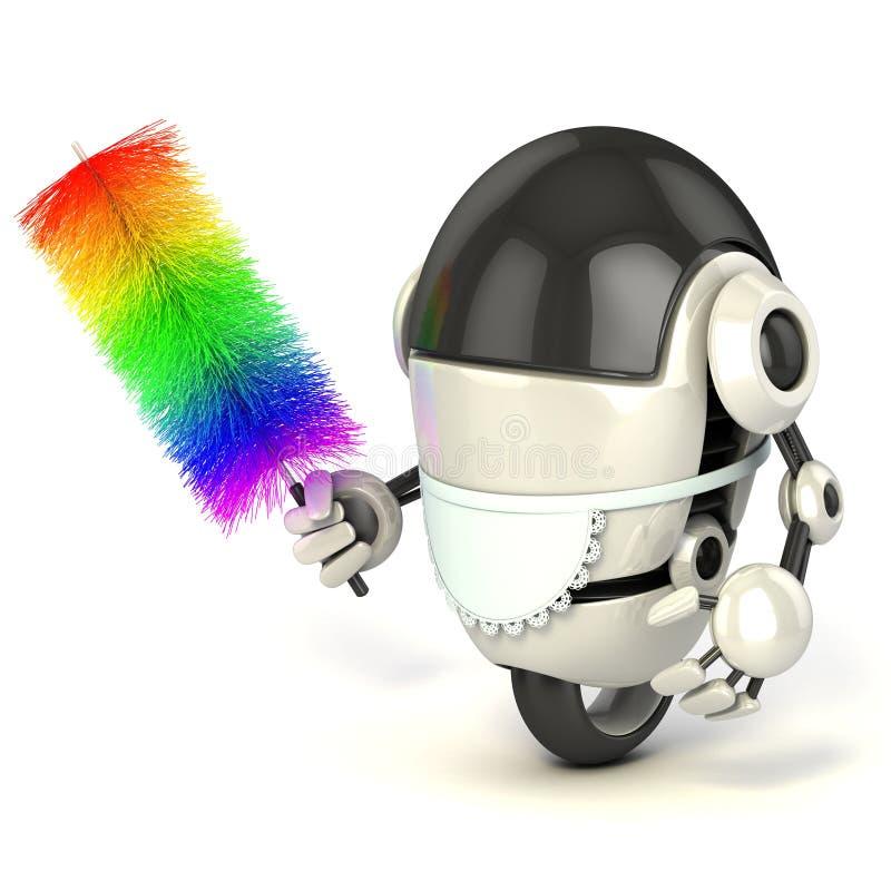robô 3d no uniforme da empregada doméstica ilustração royalty free