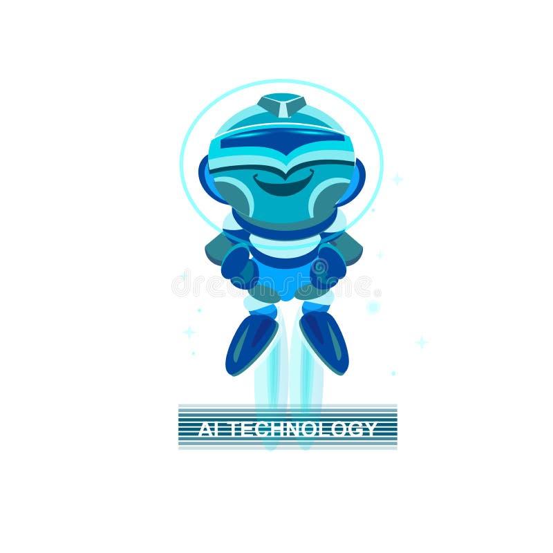 Robô bonito chatbot azul engraçado conceito do facial ilustração royalty free