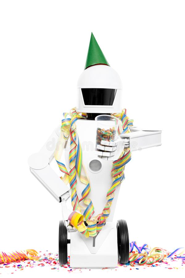 Robô bonito com a decoração do partido do carnaval fotos de stock