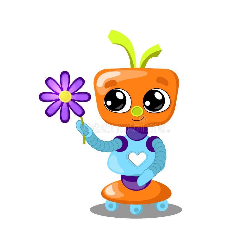 Robô bonito com ilustração da flor no fundo branco Robô com coração no amor Menina feminino do robô ilustração royalty free