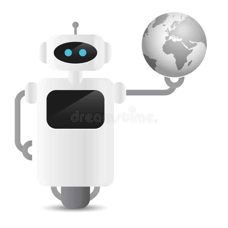 Robô bonito que guarda o globo da terra em sua mão ilustração royalty free