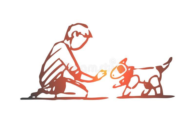Robô, cão, criança, brinquedo, conceito da tecnologia Vetor isolado tirado m?o ilustração stock