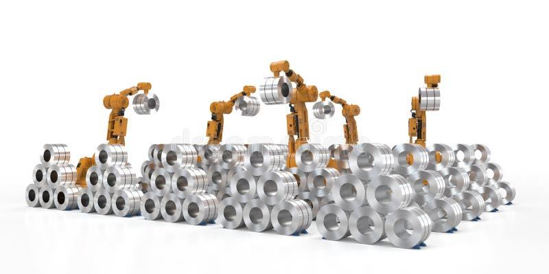 Robô com aço do rolo ilustração stock