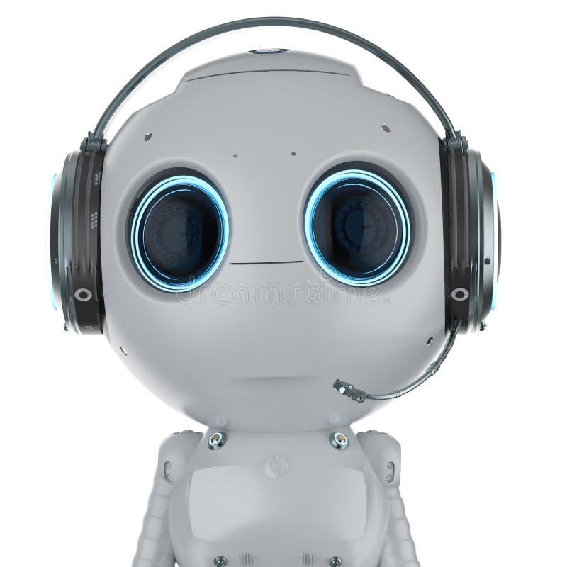 Robô com auriculares ilustração do vetor
