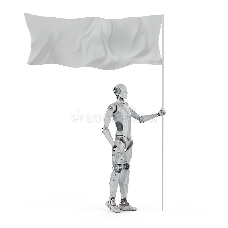 Robô com bandeira branca