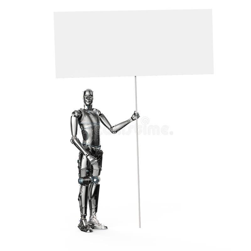 Robô com bandeira vazia ilustração do vetor