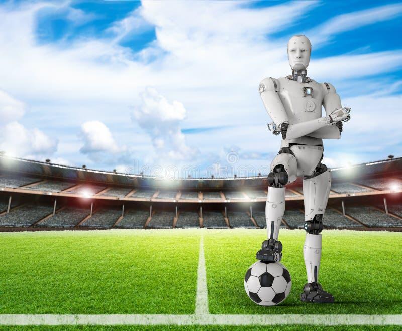 Robô com bola de futebol ilustração stock