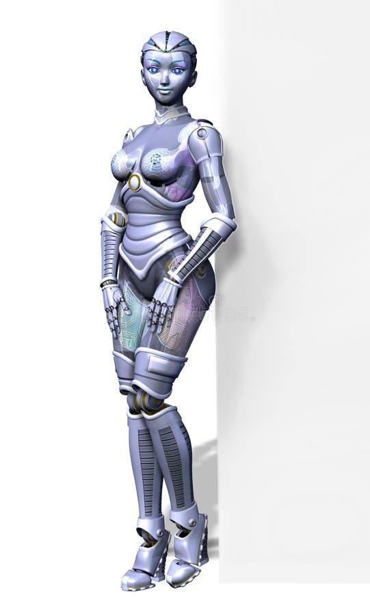 Robô com borda do sinal em branco - com trajeto de grampeamento ilustração stock