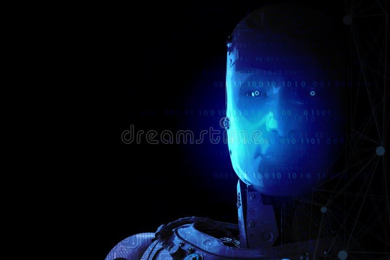Robô com cérebro do ai fotos de stock royalty free
