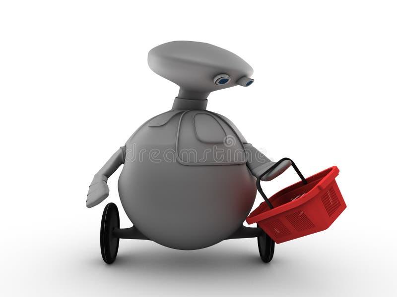 Robô com cesta de compra ilustração stock
