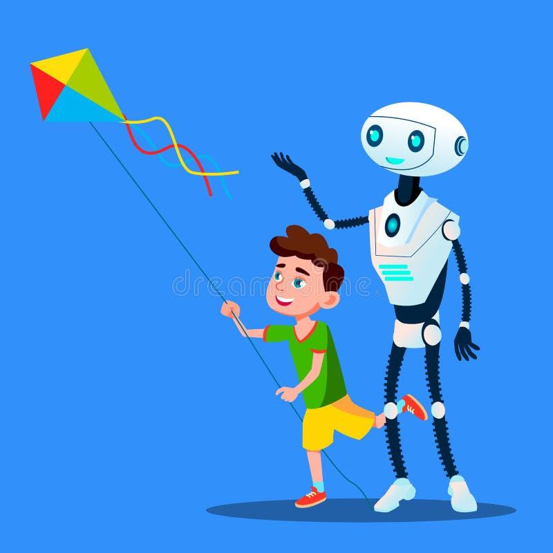 Robô com criança para voar um vetor do papagaio Ilustração isolada ilustração stock