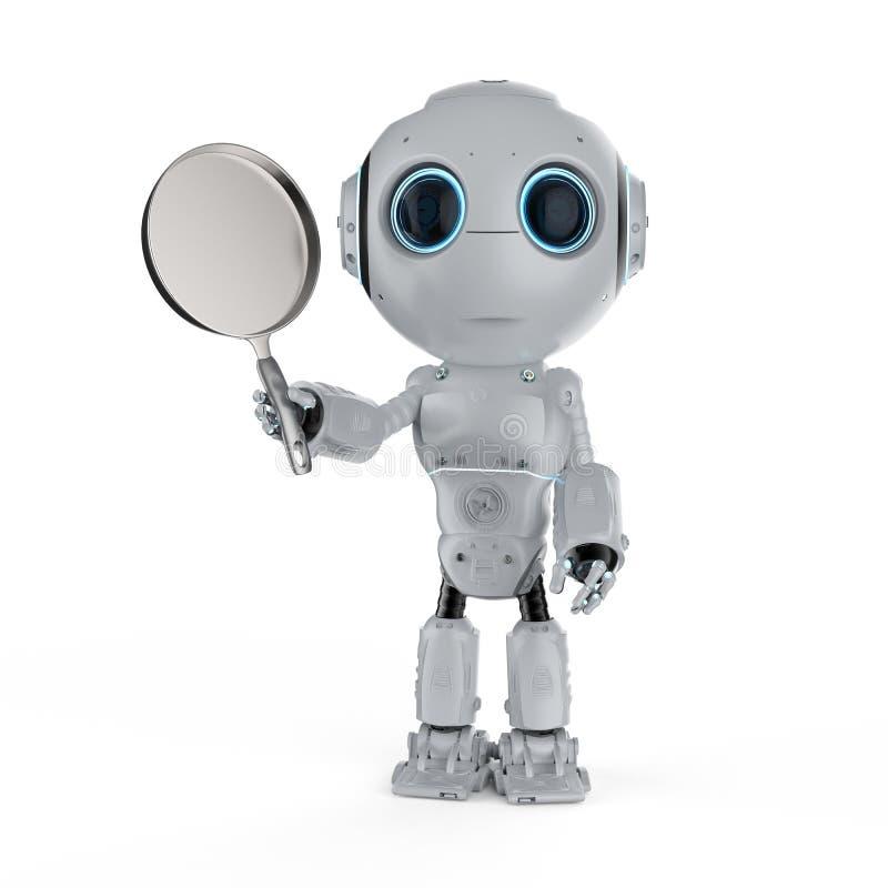 Robô com frigideira ilustração stock