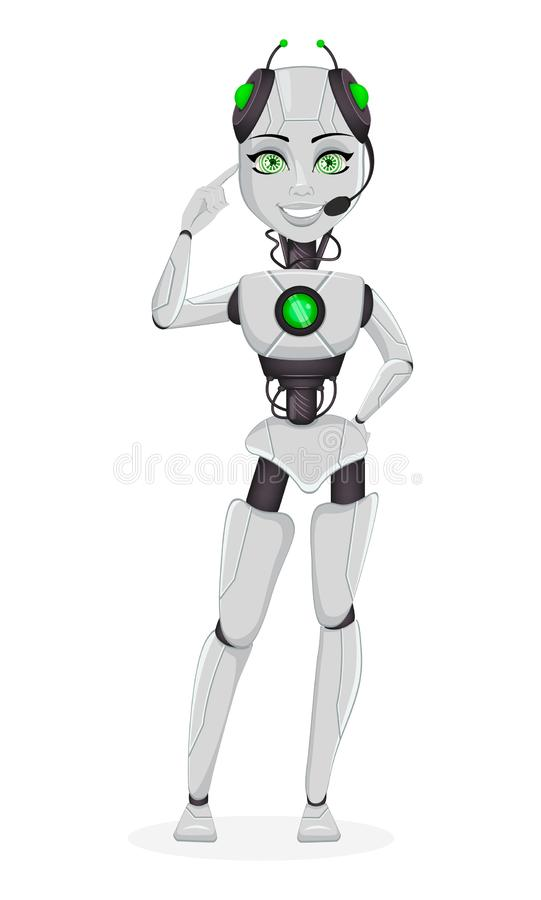 Robô com inteligência artificial, bot fêmea ilustração royalty free