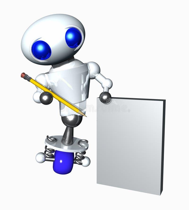 Robô com lápis e papel ilustração do vetor