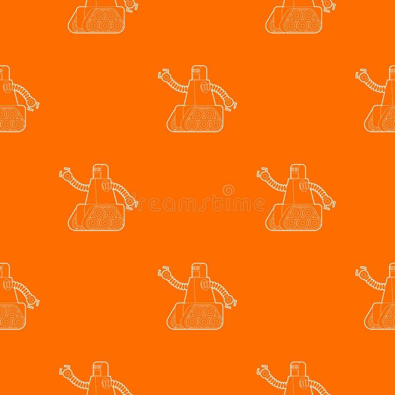 Robô com a laranja do vetor do teste padrão da trilha de lagarta ilustração stock
