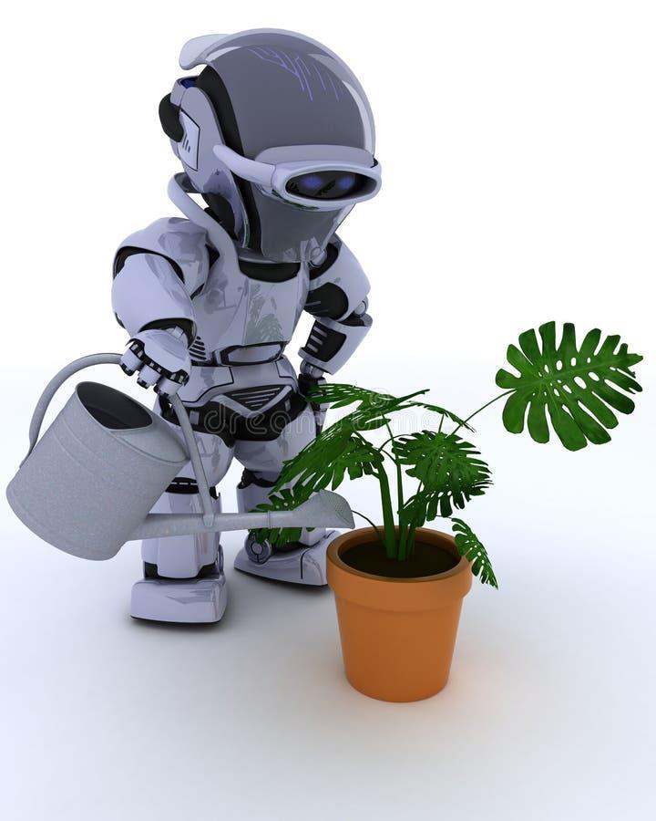 Robô com a lata molhando que alimenta uma planta ilustração do vetor
