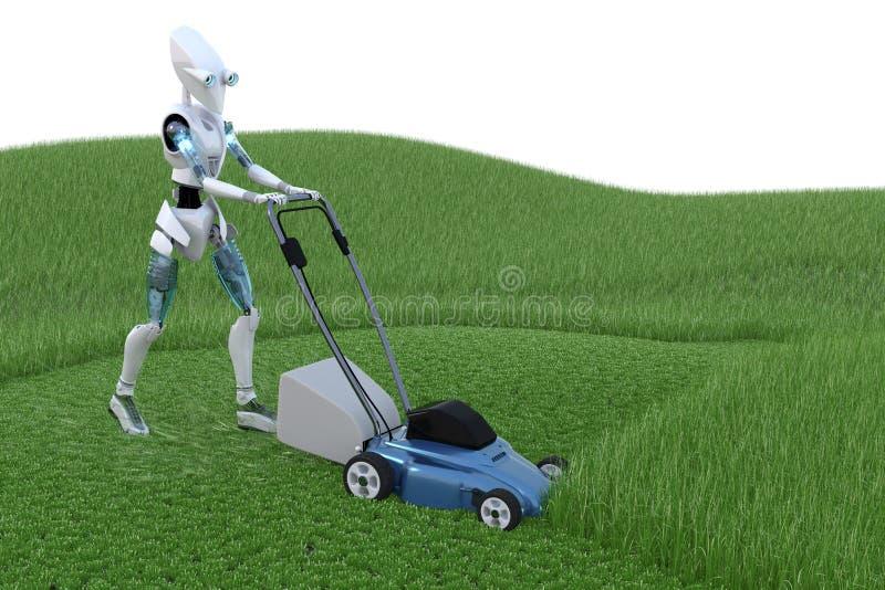 Download Robô com Lawnmower ilustração stock. Ilustração de trabalho - 26503621