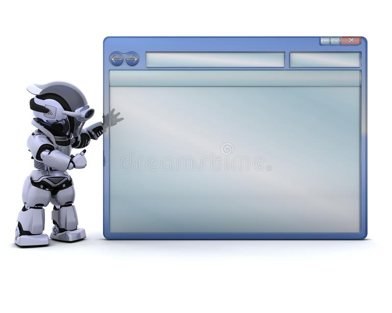 Robô com o indicador vazio do computador ilustração royalty free