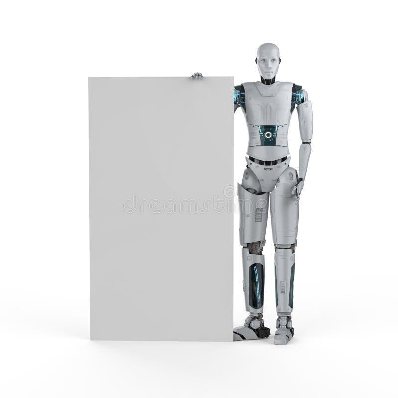 Robô com placa em branco