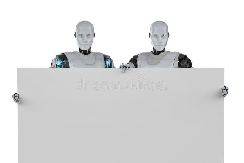 Robô com placa em branco ilustração royalty free