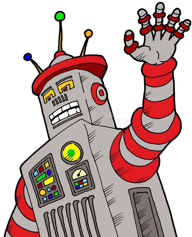 Robô com raiva ilustrado de desenho animado ilustração royalty free
