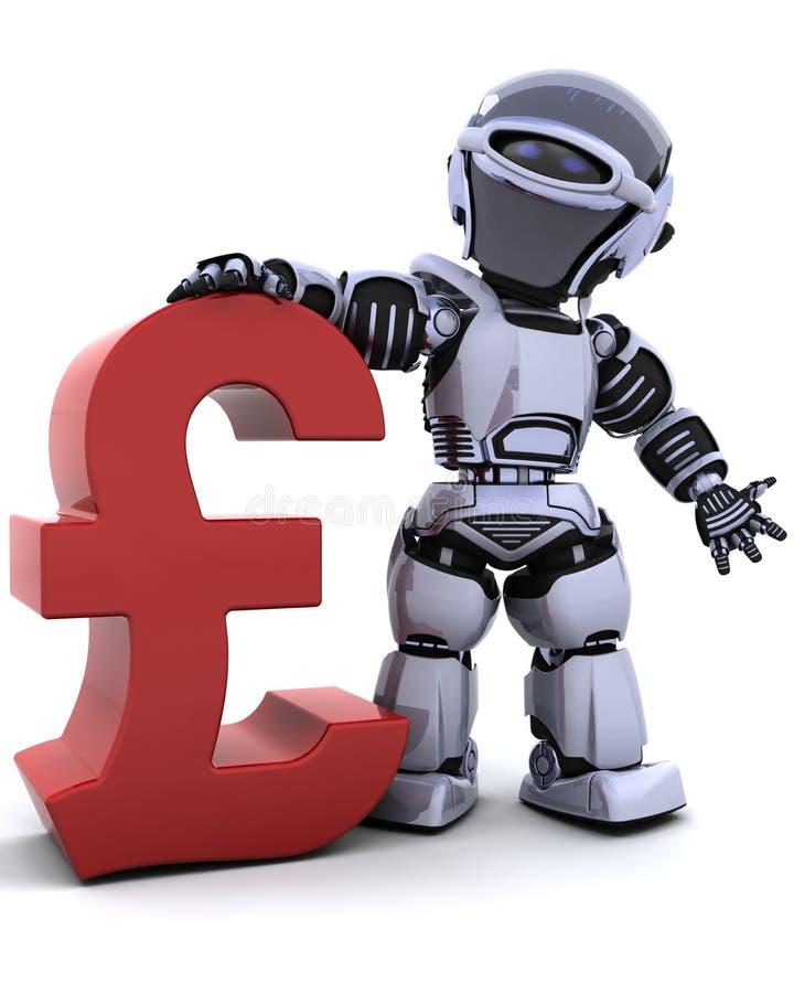 Robô com símbolo da libra ilustração royalty free