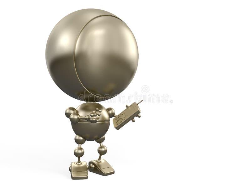 Robô com telefone ilustração do vetor