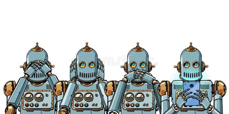 Robô com telefone, conceito do apego do Internet Isolado no fundo branco ilustração do vetor